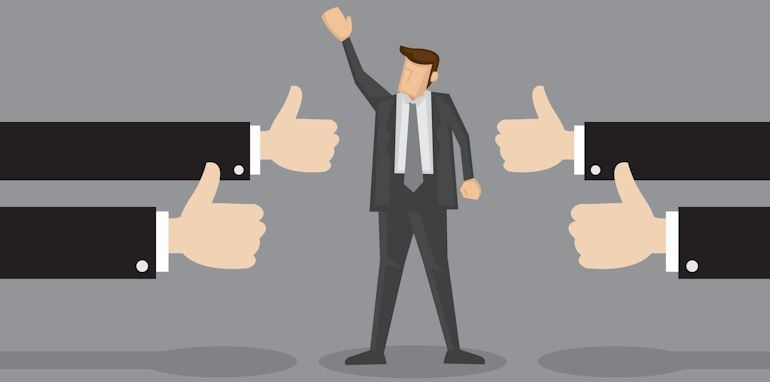 Vector illustration of a successful businessman acknowledging many thumbs up around him. Conceptual design for success and achievement